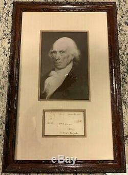 James Madison Président Signé / Autograph Avec Image & Framed Jsa Authentique
