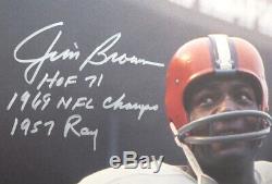 Jim Brown Autographié Authentique Signé 16x20 Photo Browns Avec Statistiques Psa 145343