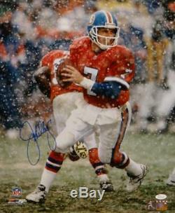 John Elway Autographiés Denver Broncos 16x20 Photo Neige Jsa W Pf- Assermentée