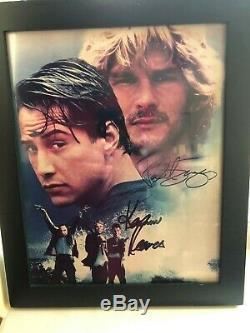 Keanu Reeves Et Patrick Swayze Point Break Signé Authentique Photo 8x10