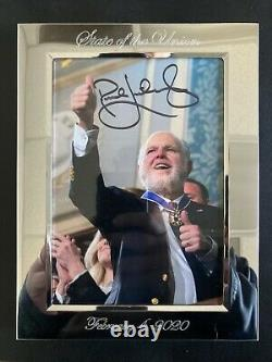 L'icône Conservatrice Des Médias Rush Limbaugh Authentique Autographié 5x7 Dans Un Cadre Spécial