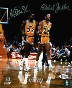 Lakers Magic Johnson & Kareem Abdul Jabbar Authentique Signé 8x10 Photo Bas