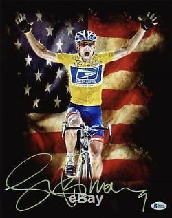 Lance Armstrong Authentique Signé 11x14 Métallique Photo Dédicacée Bas