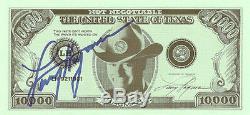 Larry Hagman Véritable Authentique Signé 10 000 $ Dollar Bill Photo Aftal & Uacc