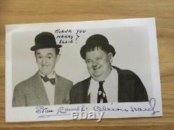 Laurel Et Hardy Authentique Original Signé Photographie Et Enveloppe