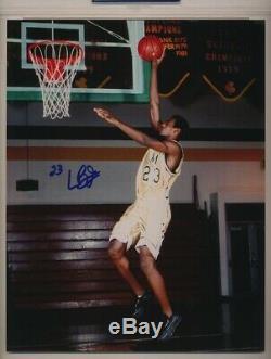 Lebron Signé 8x10 Lycée De Basket-ball Photo Psa / Dna Authentique Auto