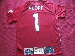 Liverpool Jurgen Klopp Authentique Signée À La Main 2018-19 Shirt Jersey Preuve Photo