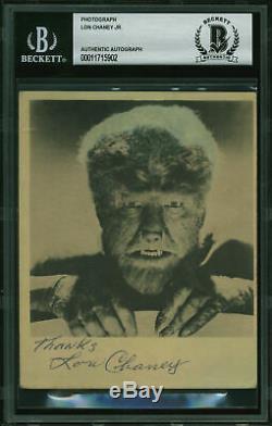 Lon Chaney Jr. Le Loup-garou Merci Authentique Signé 4x5 Photo Bas Slabbed