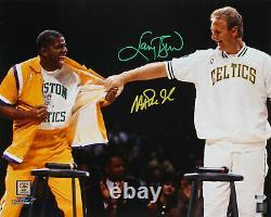 Magic Johnson & Larry Bird Authentic Signed 16x20 Retirement Photo Bas Témoin
