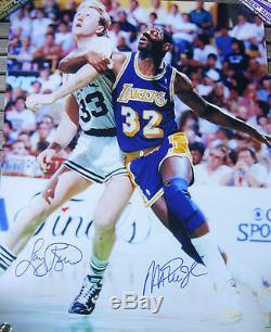 Magic Johnson / Larry Bird Double Signé 16x20 Photo Superstar Authentique
