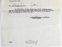 Marilyn Monroe Authentique Signé 8,5x11 2 Page 1950 Document Juridique Bas # A79368