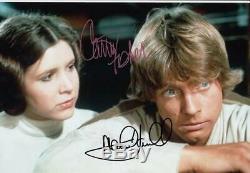 Mark Hamill Et Carrie Fisher Star Wars Signés 8x12 Photo (authentique)