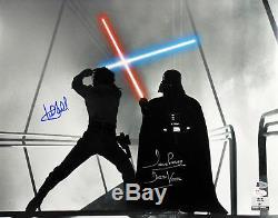 Mark Hamill Et David Prowse Star Wars Authentique Signé 16x20 Photo Bas