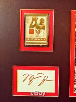 Michael Jordan Authentique Carte D'index Autographié Et Jeu De Cartes De Nuanciers Usée Encadrée
