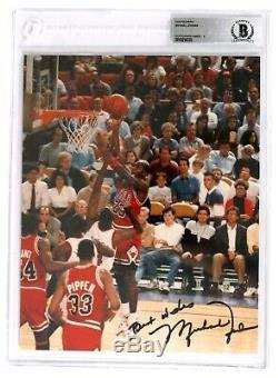 Michael Jordan Signé Photo 8x10 Beckett Encapsulé Assermentée Auto Bgs 9