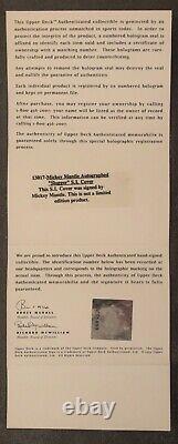 Mickey Mantle Signé Sports Illustrated Uda Autographié Upper Deck Authentifié