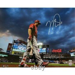 Mike Trout Los Angeles Angels Signé 16x20 Photo Citi Field Mlb Authentic Coa