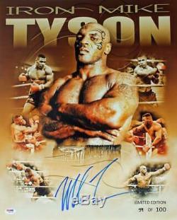 Mike Tyson Signé Authentique 16x20 Ltd Ed. Collage Photo Dédicacée Psa / Adn Pti