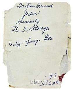 Moe Howard Le 3 Stooges À Notre Ami Authentique Signé 3.85x5 Photo Jsa