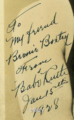 Originale Et Authentique Cru Babe Ruth Photo De Autographié Signé 1928