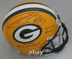 Packers Donald Driver Signé Full Size Authentic Helmet Auto Avec Career Stats Jsa