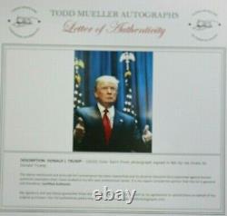 Président Donald Trump Authentique Signé Grande Affiche Taille 16 X 20 Photo Couleur