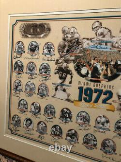 Rare Authentic Autographied Miami Dolphins Perfect Season 1972 Lithographie Encadrée