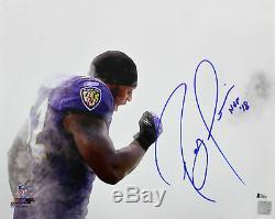 Ravens Ray Lewis Hof 18 Authentique Signé 16x20 Photo Dédicacée Bas Témoin De