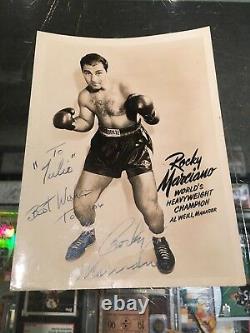 Rocky Marciano Champion Du Monde De Boxe Poids Lourd Signé 5x7 Photo Jsa Authent
