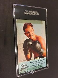 Rocky Marciano Champion Du Monde De Boxe Poids Lourd Signé Carte Postale Sgc Authent