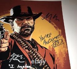Roger Clark +5 Signée À La Main 16x20 Red Dead Redemption 2 Authentique Auto Jsa Coa