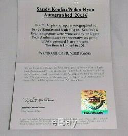 Sandy Koufax Et Nolan Ryan Signed 16x20 Upper Deck Assermentée Autographié Uda