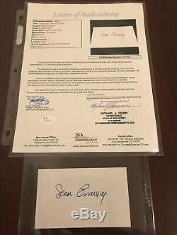 Sean Connery Autographed Signe Cru Carte Index Jsa Loa Authentique James Bond