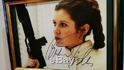 Signée À La Main Par Carrie Fisher Avec Coa Framed Star Wars 8x10 Photo Authentique