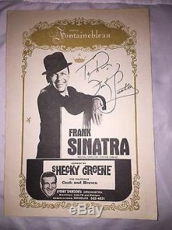 Sinatra Frank Authentique Signé / Autograph Fontainebleu Miami Photo Dossier 1961