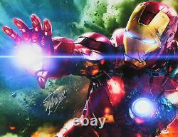 Stan Lee Marvel Authentic Signé 20x24 Iron Man Canvas Autographié Psa #w18585
