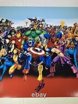 Stan Lee Signés Authentique 16x20 Cast Marvel Comics Characters Psa Adn Coa