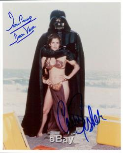 Star Wars (carrie Fisher & Dave Prowse) Signé Authentique 8x10 Photo Coa