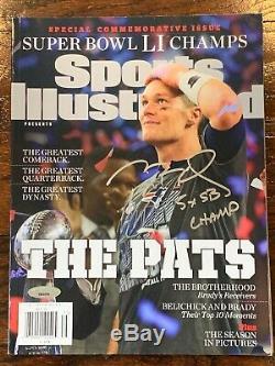 Tom Brady Superbowl 51 Signé Si Magazine 5x Sb Champ Tristar Assermentée