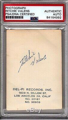 Valens Ritchie Autographié Signé Authentic Del-fi Enregistrements Photo Psa / Adn Slabbed