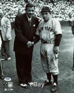Yankees Yogi Berra Signé Authentique 11x14 Photo Avec Babe Ruth Psa / Adn